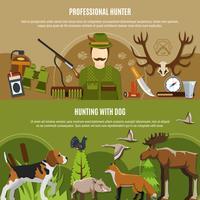 Set di banner cacciatore professionale vettore