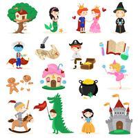 Set di personaggi dei cartoni animati di fiaba vettore