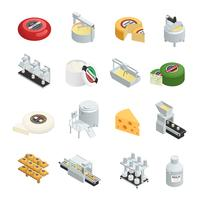 Collezione di icone isometriche di produzione di formaggio vettore