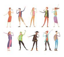 Set per karaoke di persone che cantano vettore