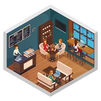 Bistro isometric interior composition vettore