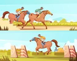 Banner orizzontale di sport equestri vettore