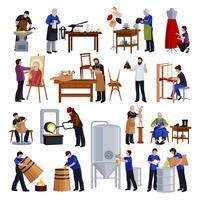 Set di icone piane di artigiani tradizionali vettore