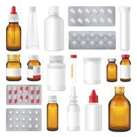 Insieme realistico delle pillole farmaceutiche delle confezioni delle bottiglie