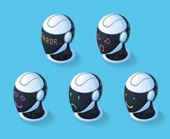 Set di icone di emozioni di droide vettore