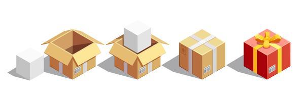 Set isometrico imballaggio pacchi vettore