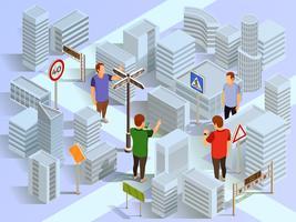 Composizione isometrica di navigazione città vettore