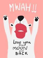 carta d'amore cane bianco con grande bacio mwah vettore
