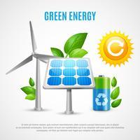 Illustrazione realistica di vettore di energia verde