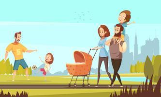 Illustrazione di famiglia retrò all'aperto del fumetto vettore