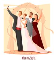Composizione di Selfie festivo di nozze vettore