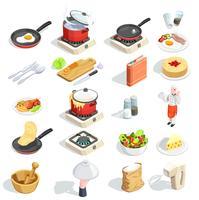 Cucinare la collezione di icone isometriche