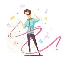 Concetto di design musicale ascolto uomo vettore