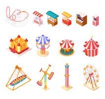 Icone isometriche del fumetto del parco di divertimenti messe