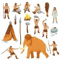 Set di icone piane del fumetto di persone primitive