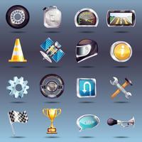 Set di icone di corse automobilistiche vettore