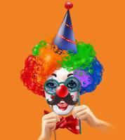 Poster di sfondo colorato di circo pagliaccio testa