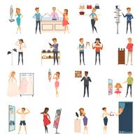 Set di icone piatto cercando negozio di persone