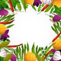 Sfondo di verdure e spezie vettore