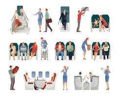 Persone in aeroplano impostato vettore