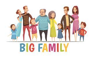 Ritratto di grande famiglia armoniosa felice