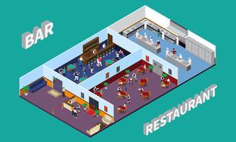 Bar ristorante Isometric Design vettore