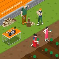Lavorando alla composizione isometrica dell'azienda agricola familiare