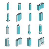 Set isometrico di edifici moderni