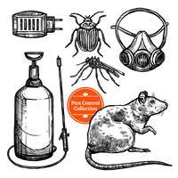 Disegnato a mano Sketch Pest Control vettore