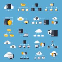 Set di icone di servizi di hosting vettore