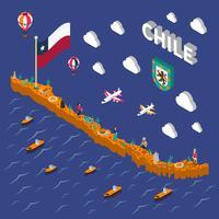 Mappa isometrica del Cile di simboli turistici delle attrazioni