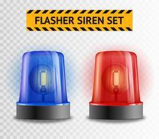 Set trasparente di lampeggiatore a sirena vettore
