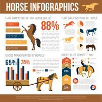 Poster piatto di presentazione infografica di razze di cavallo