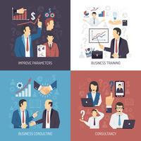 Icone piane di concetto 4 di addestramento di affari vettore