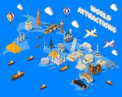 Mappa dei luoghi famosi mondo isometrica POster vettore