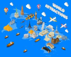 Mappa dei luoghi famosi mondo isometrica POster