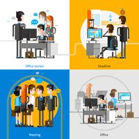 Office People 2x2 Design Concept vettore