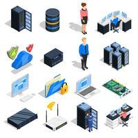 set di icone di elementi di datacenter vettore
