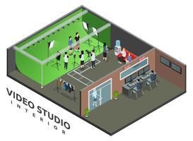 Vista isometrica interna del video studio vettore