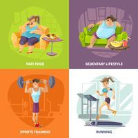 Set di icone di concetto di obesità e salute