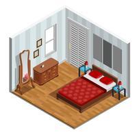 Disegno isometrico della camera da letto
