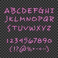 Poster di sfondo trasparente al neon di lettering a mano