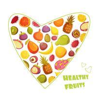 Pubblicità di stile retrò di frutta a forma di cuore vettore