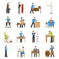 Icone di artigiani piatte