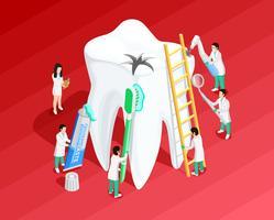 Modello isometrico dentale medico vettore