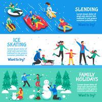 Insegne orizzontali piane di vacanze invernali