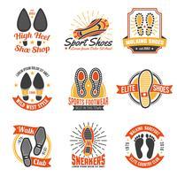 Etichette di calzature con icone di orme impostate vettore