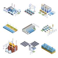 Set di immagini di impianti di generazione di elettricità vettore