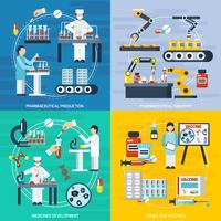 Set di icone di concetto di produzione farmaceutica
