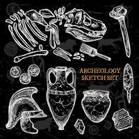 Insieme di schizzo della lavagna di archeologia